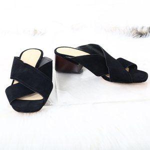 Via Spiga Women's Block Heel Sandal Black Leather
